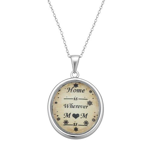 """Sterling Silver """"Home Is Wherever Mom Is"""" Pendant Necklace"""