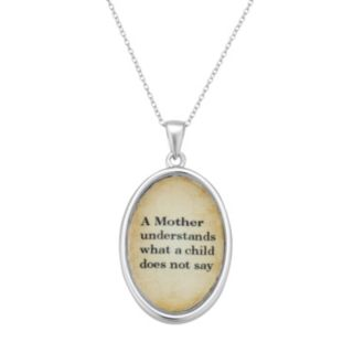 "Sterling Silver ""Mother"" Oval Pendant Necklace"