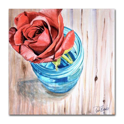 Trademark Fine Art Rose in Jar Canvas Wall Art