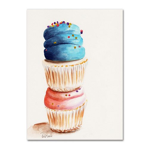 Trademark Fine Art Stacked Cupcakes Canvas Wall Art