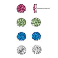 Crystal Disc Stud Earring Set