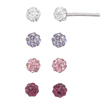 Crystal Fireball Stud Earring Set