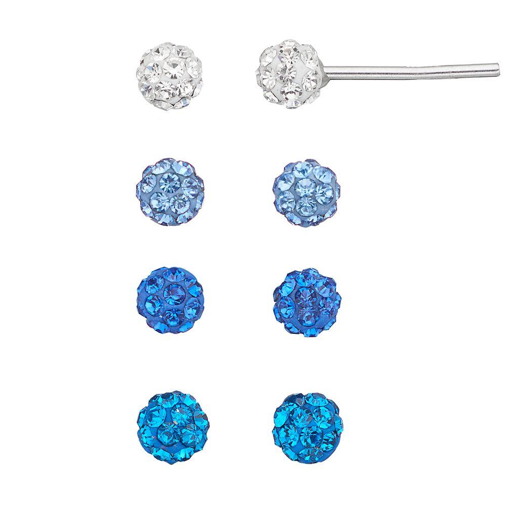 Blue Crystal Fireball Stud Earring Set