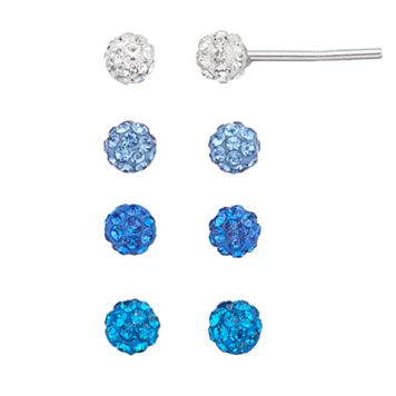 Blue Crystal Fireball Stud Earring Set
