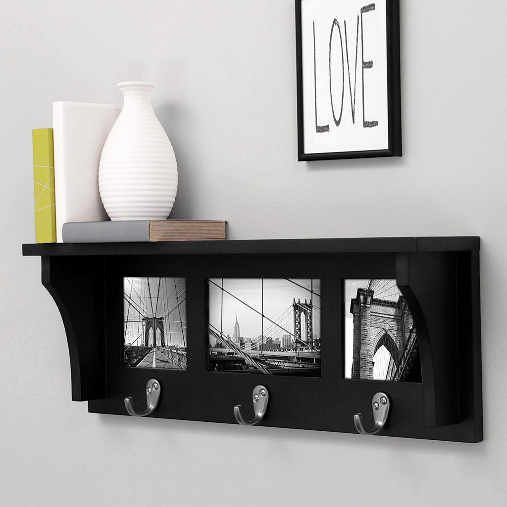 Nexxt Riley 3-Hook Photo Wall Shelf