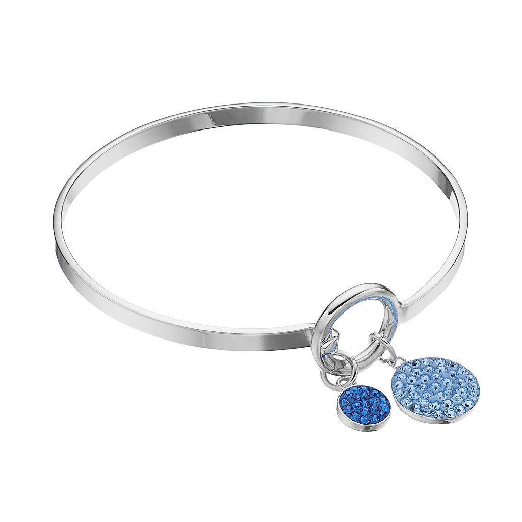 Blue Crystal Disc Charm Bangle Bracelet