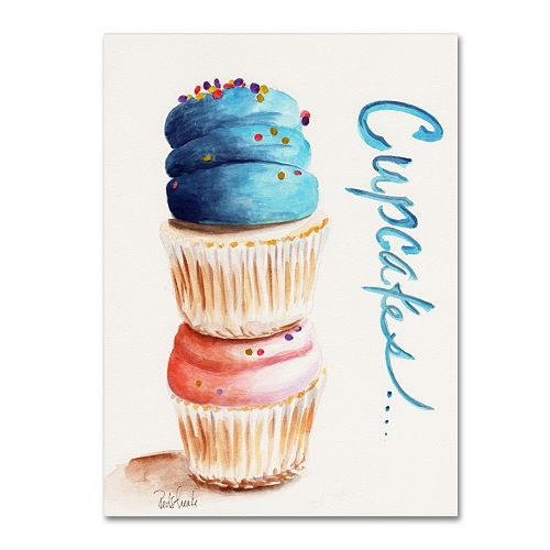 Trademark Fine Art Stacked Cupcakes with Words Canvas Wall Art