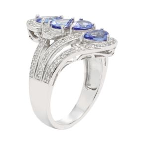 Sterling Silver Tanzanite & White Zircon Ring