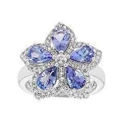 Sterling Silver Tanzanite & White Zircon Flower Ring