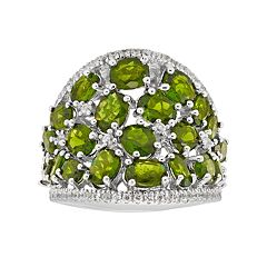 Sterling Silver Chrome Diopside & White Zircon Ring