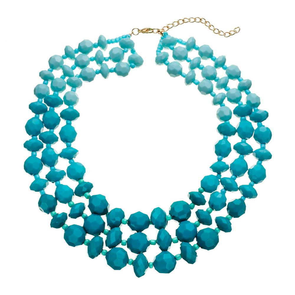 Aqua Ombre Chunky Beaded Necklace