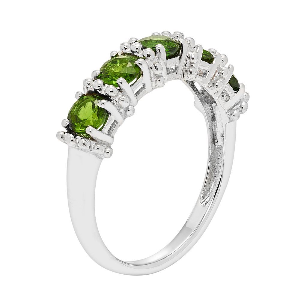 Sterling Silver Chrome Diopside 5-Stone Ring