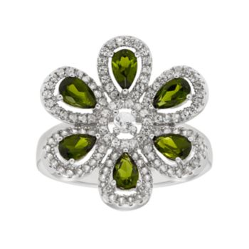Sterling Silver Chrome Diopside & White Zircon Flower Ring