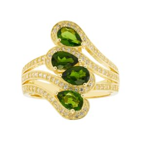 14k Gold Over Silver Chrome Diopside & White Zircon Ring