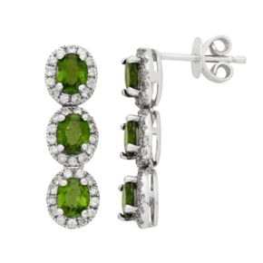 Sterling Silver Chrome Diopside & White Zircon 3-Stone Halo Drop Earrings