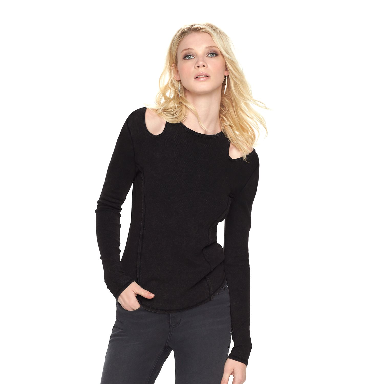 Womens Rock & Republic? Ribbed Shoulder Cut Out Tee