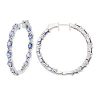 Sterling Silver Tanzanite & White Zircon Inside Out Hoop Earrings