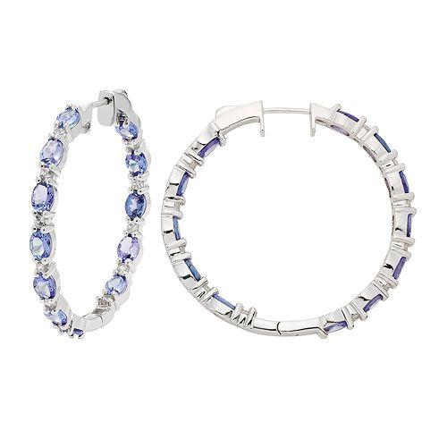 Sterling Silver Tanzanite & White Zircon Inside Out Hoop Earrings