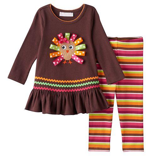 bf1ebe3297230 Baby Girl Bonnie Jean Thanksgiving Turkey Applique Top & Striped Leggings  Set