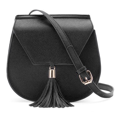 Yoki Flap Fringed Tassel Crossbody Saddle Bag