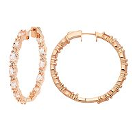 14k Rose Gold Over Silver Morganite & White Zircon Inside Out Hoop Earrings
