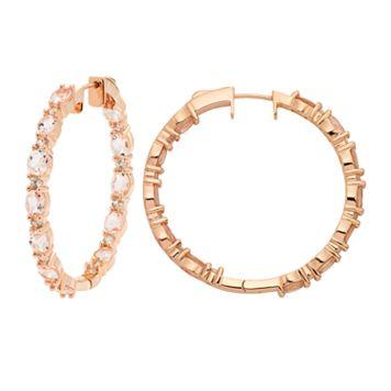14k Rose Gold Over Silver Morganite & White Zircon Inside Out Hoop Earrings