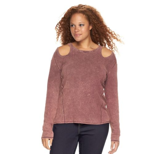 Plus Size Rock & Republic® Ribbed Cut-Out Shoulder Tee