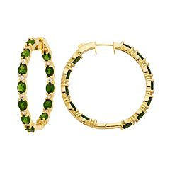 14k Gold Over Silver Chrome Diopside & White Zircon Inside Out Hoop Earrings