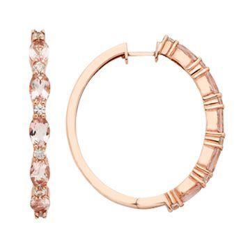 14k Rose Gold Over Silver Morganite & White Zircon Hoop Earrings