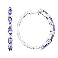 Sterling Silver Tanzanite & White Zircon Hoop Earrings