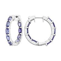 Sterling Silver Tanzanite Inside Out Hoop Earrings