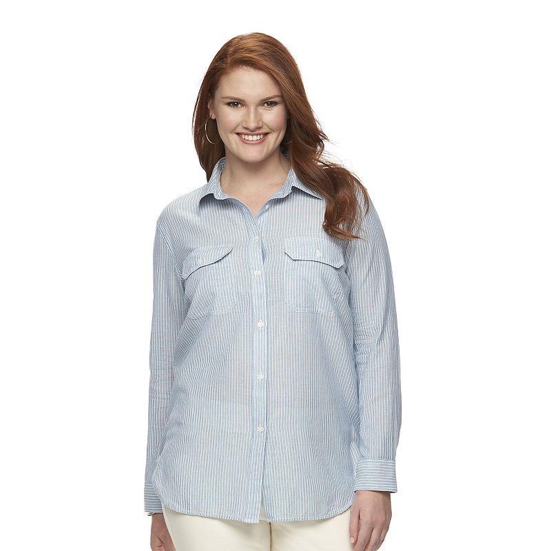 Plus Size Chaps Twill Plaid Shirt
