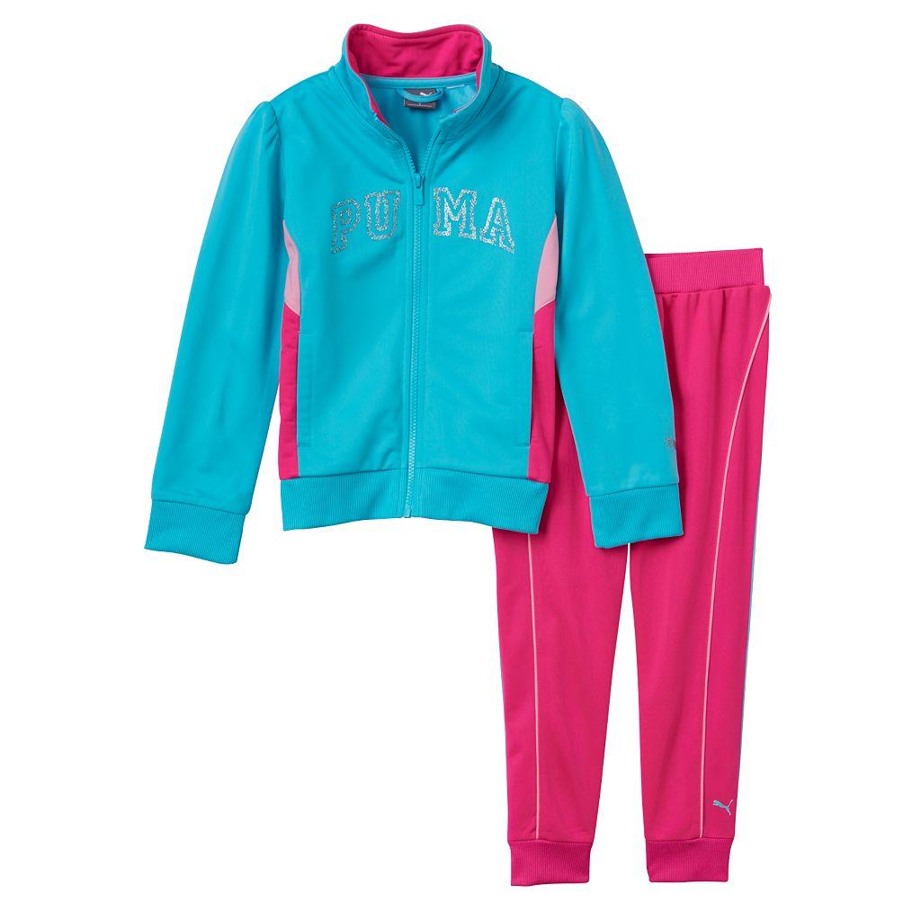 Girls 4-6x PUMA Colorblock Glitter Jacket & Pants Set
