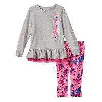 Girls 4-6x PUMA Ruffled Tee & Floral Leggings Set