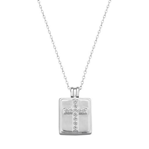 Sterling Silver Cubic Zirconia Cross Locket Necklace