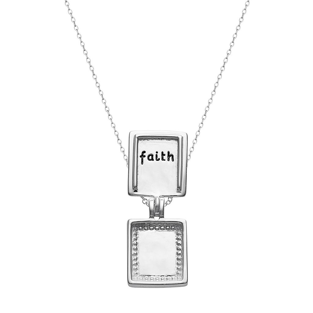 Sterling Silver Cubic Zirconia Cross Locket Necklace