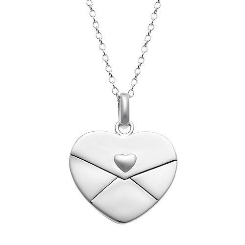 Sterling Silver Sentimental Envelope Heart Pendant Necklace