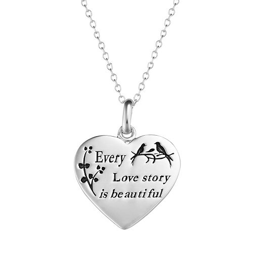 "Sterling Silver ""Love Story"" Heart Pendant Necklace"