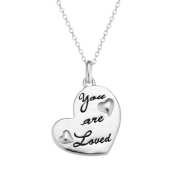 """Sterling Silver """"You are Loved"""" Heart Pendant Necklace"""