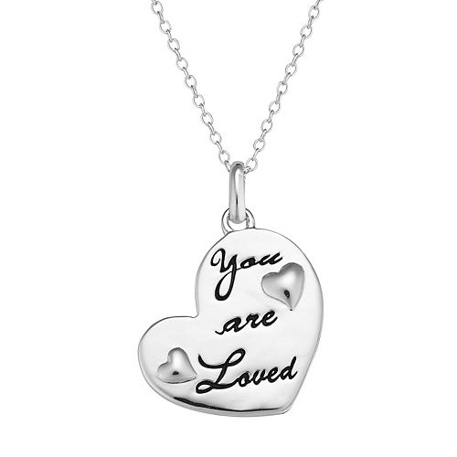 "Sterling Silver ""You are Loved"" Heart Pendant Necklace"