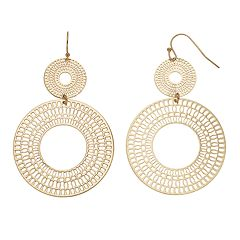 Jennifer Lopez Filigree Disc Double Drop Earrings