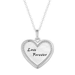 """Sterling Silver """"Love Forever"""" Heart Pendant Necklace"""