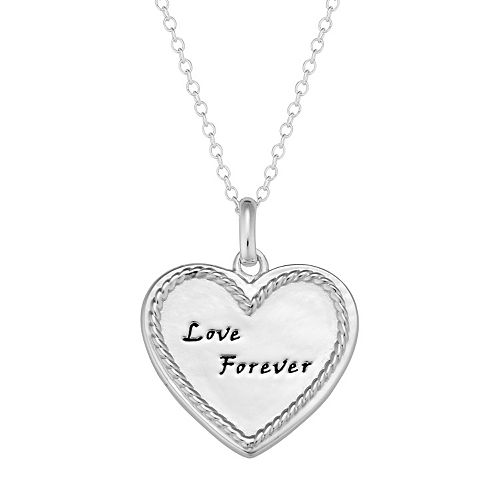 "Sterling Silver ""Love Forever"" Heart Pendant Necklace"
