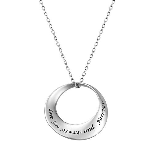 "Sterling Silver ""Love"" Circle Pendant Necklace"