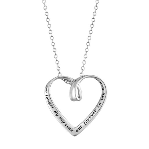 """Sterling Silver """"Forever in my Heart"""" Pendant Necklace"""