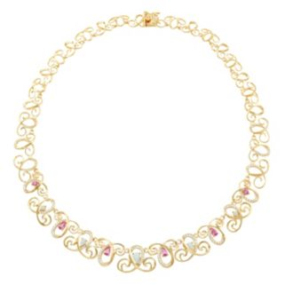 18k Gold Over Silver Gemstone Swirl Necklace