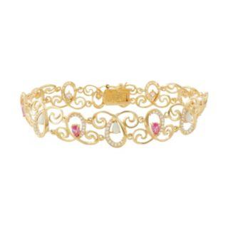 18k Gold Over Silver Gemstone Swirl Bracelet