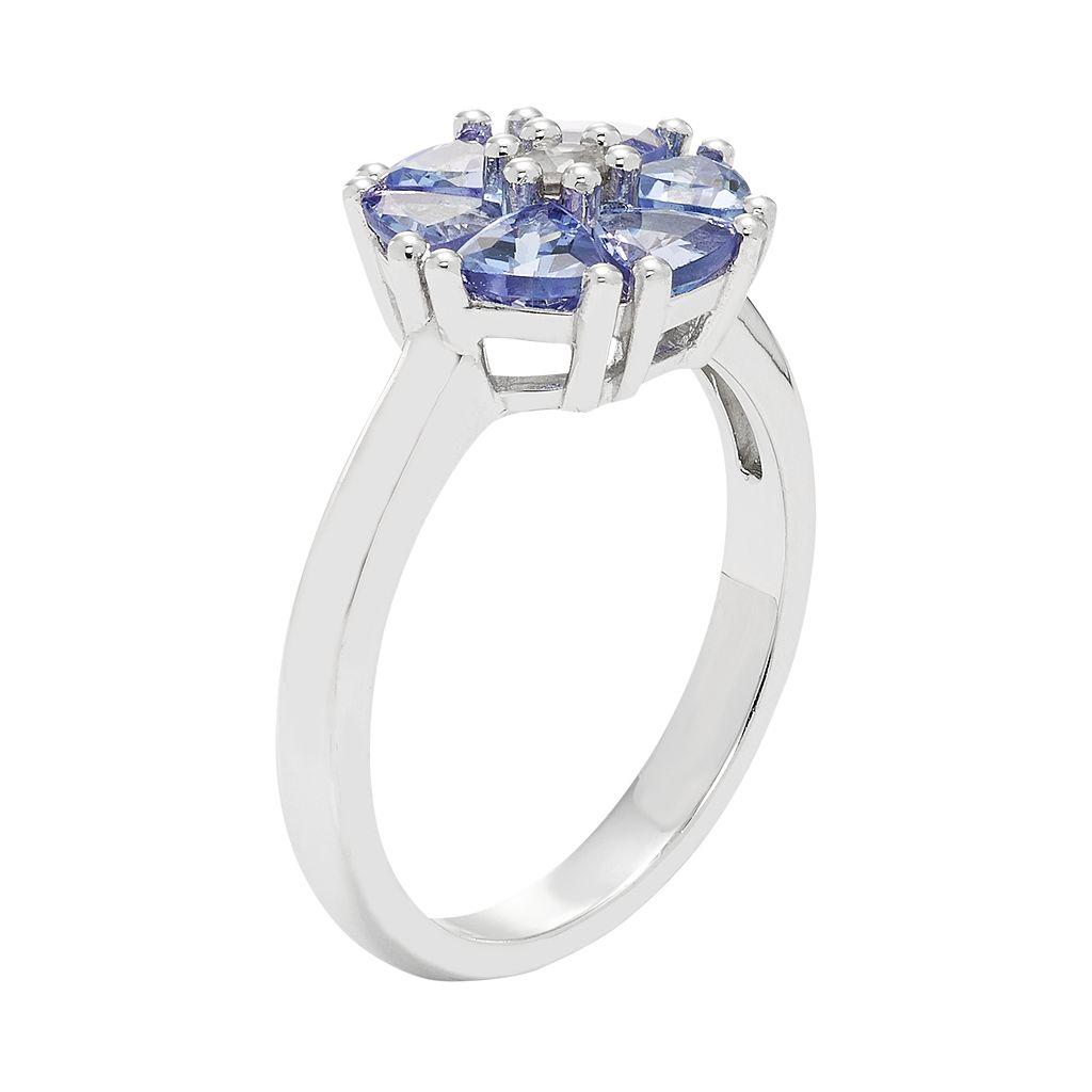 Sterling Silver Tanzanite & White Zircon Flower Ring