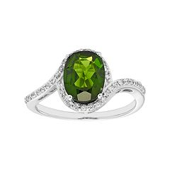 Sterling Silver Chrome Diopside & White Zircon Bypass Ring