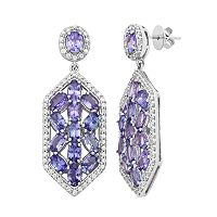 Sterling Silver Tanzanite & White Zircon Hexagon Drop Earrings
